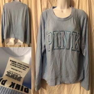 VS PINK blue vintage style crew neck sweatshirt